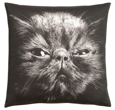 Grumpy Suspicious Cat Pillow H&M