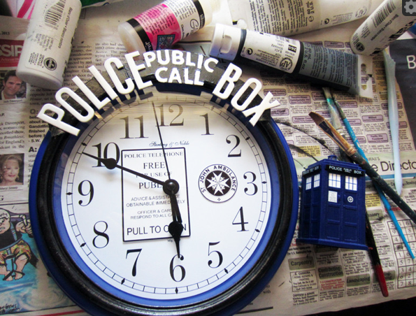 diy doctor who tardis clock our nerd home. Black Bedroom Furniture Sets. Home Design Ideas
