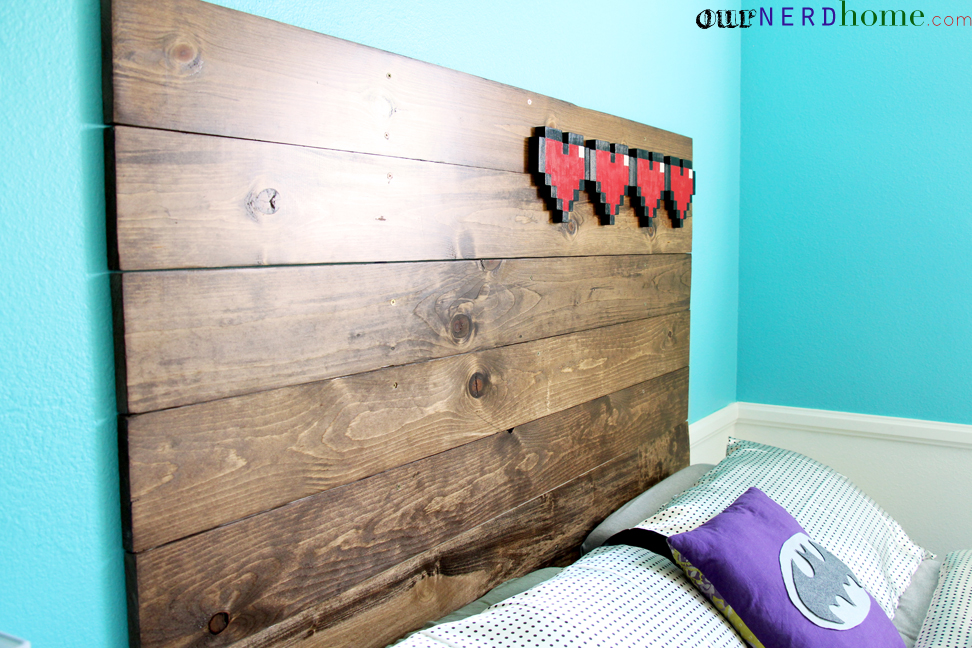 Our new diy headboard rustic wood and 8 bit hearts our for 8 bit decoration