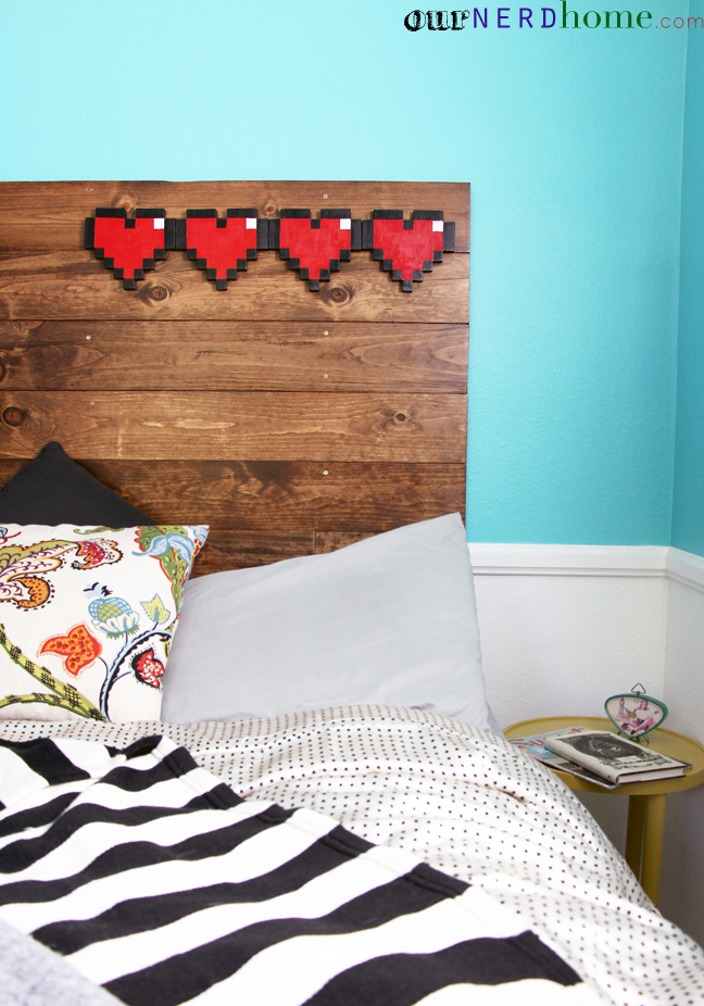 Geek Home Decor - Legend of Zelda 8bit Heart Headboard