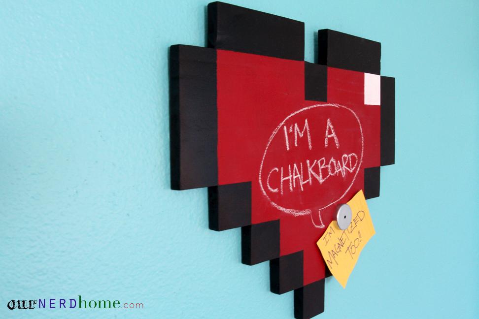 Geeky Gifts: DIY 8-Bit Heart Magnetic Chalkboard