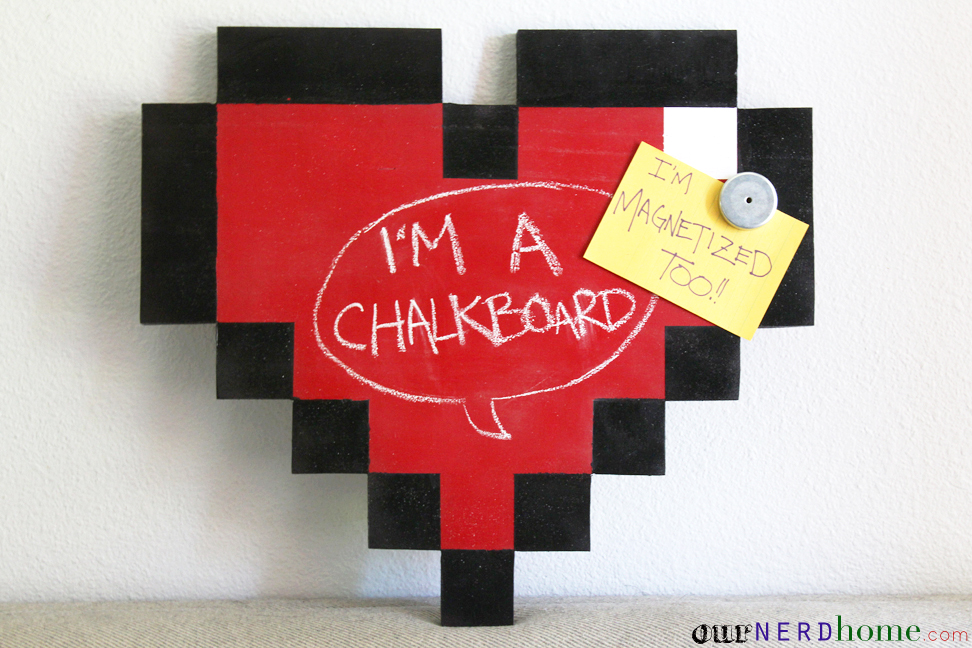 Geek Decor: DIY 8-Bit Heart Magnetic Chalkboard