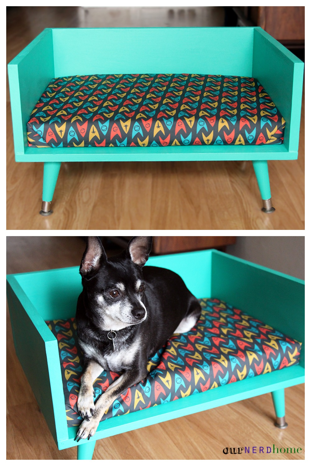 diy mid century style pet bed with a touch of star trek. Black Bedroom Furniture Sets. Home Design Ideas