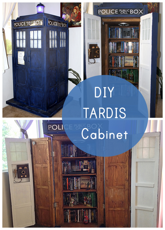 Geek Home Decor - DIY TARDIS Bookshelf Cabinet