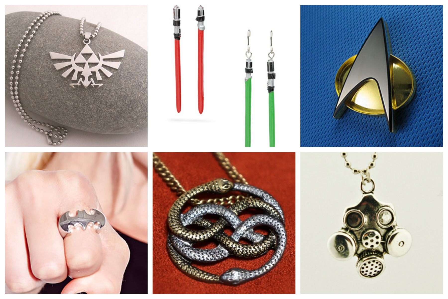 Geek Gifts: Star Trek jewelry, Zelda, Never Ending Story Necklace, Batman, Star Wars, Borderlands / Doctor Who, and more geek jewelry