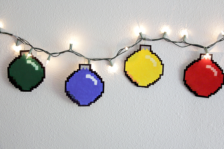 DIY geeky 8-bit ornaments