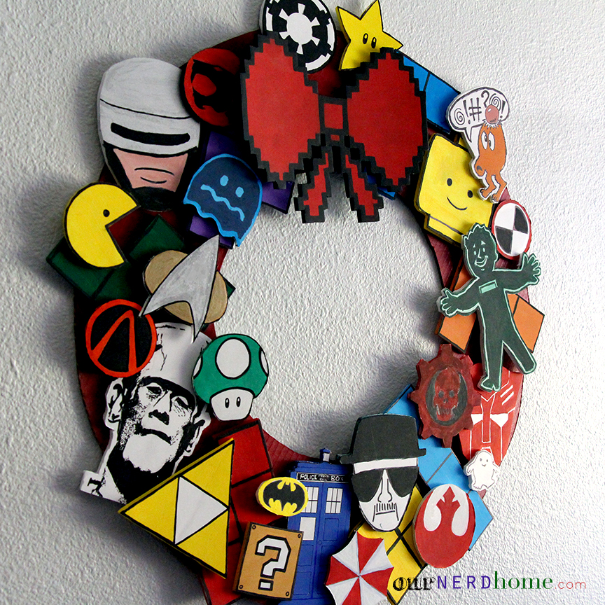 Diy geek decor ultimate fandom holiday wreath our nerd home for Decoration geek