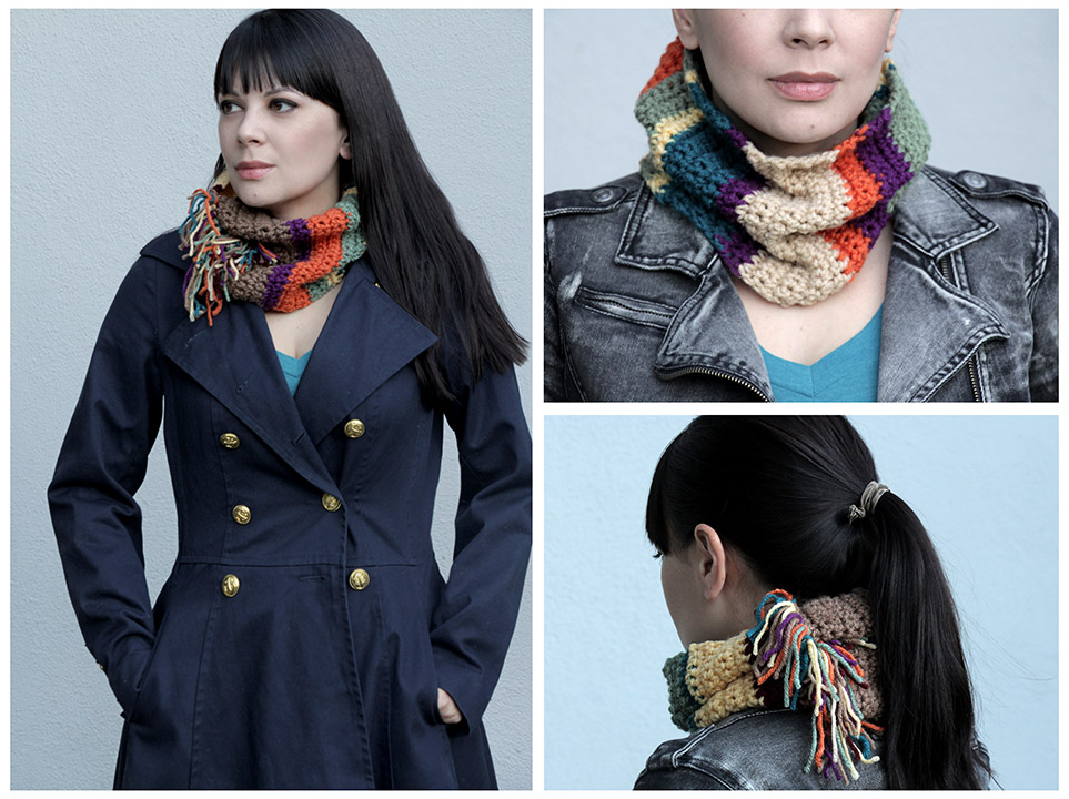 DIY Tom Baker Infinity Scarf / Doctor Who Cowl Scarf