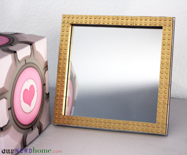 geek decor diy gold lego frame with spray painted gold legos - Decorate Mirror Frame