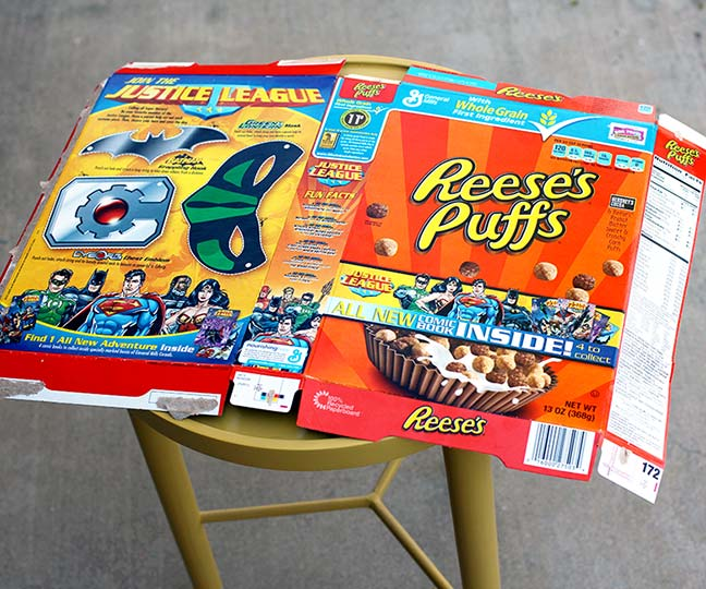 Cereal Box Crafts - Mid Century Comic Book Table