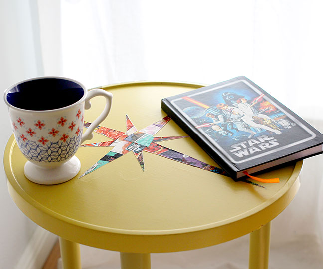 DIY Mid Century Atomic Table, using Comic Books and Mod Podge