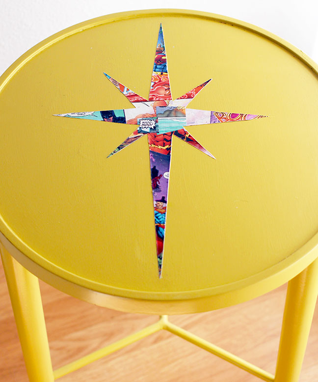 DIY Mid Century Atomic Table - using comic books and Mod Podge!