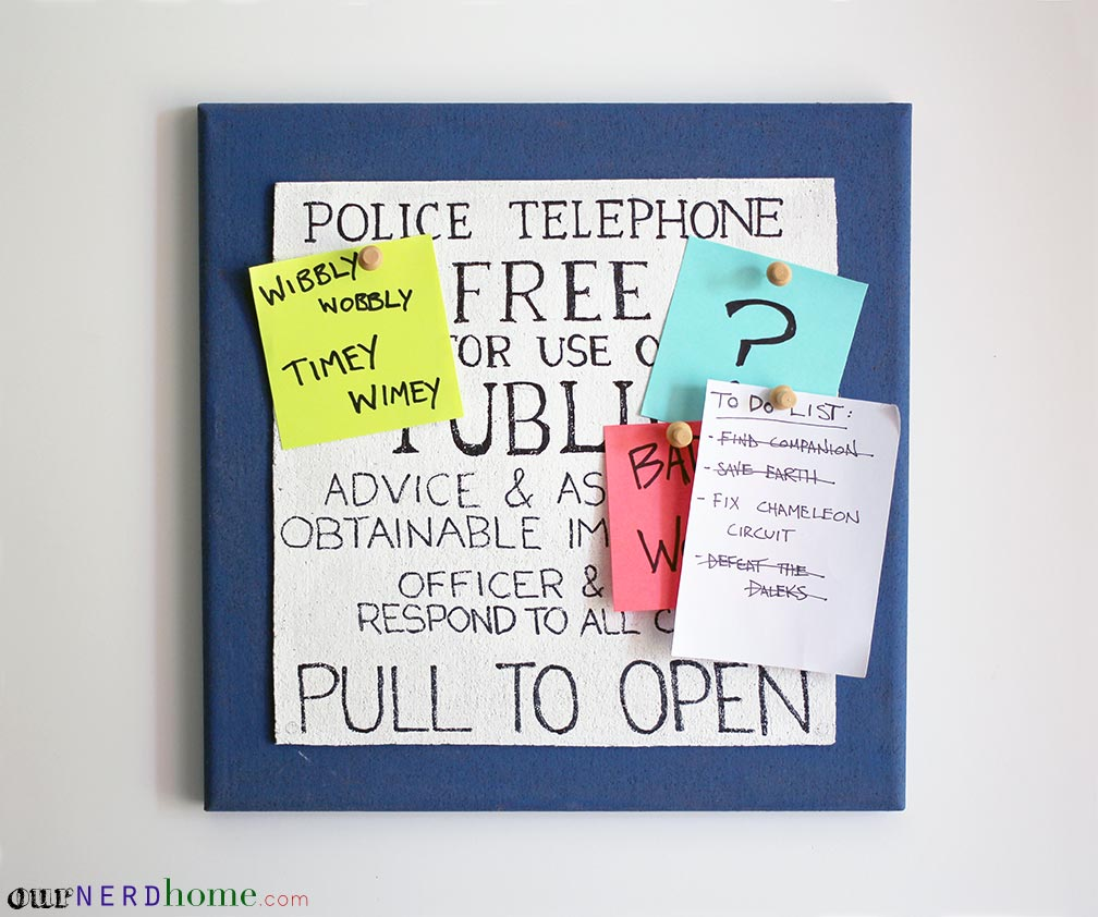 DIY TARDIS corkboard - Geek Office Decor