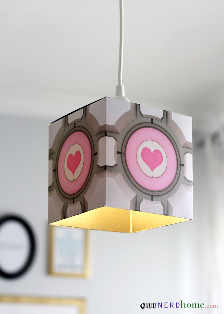 Easy Diy Portal Companion Cube Pendant Lamp Our Nerd Home