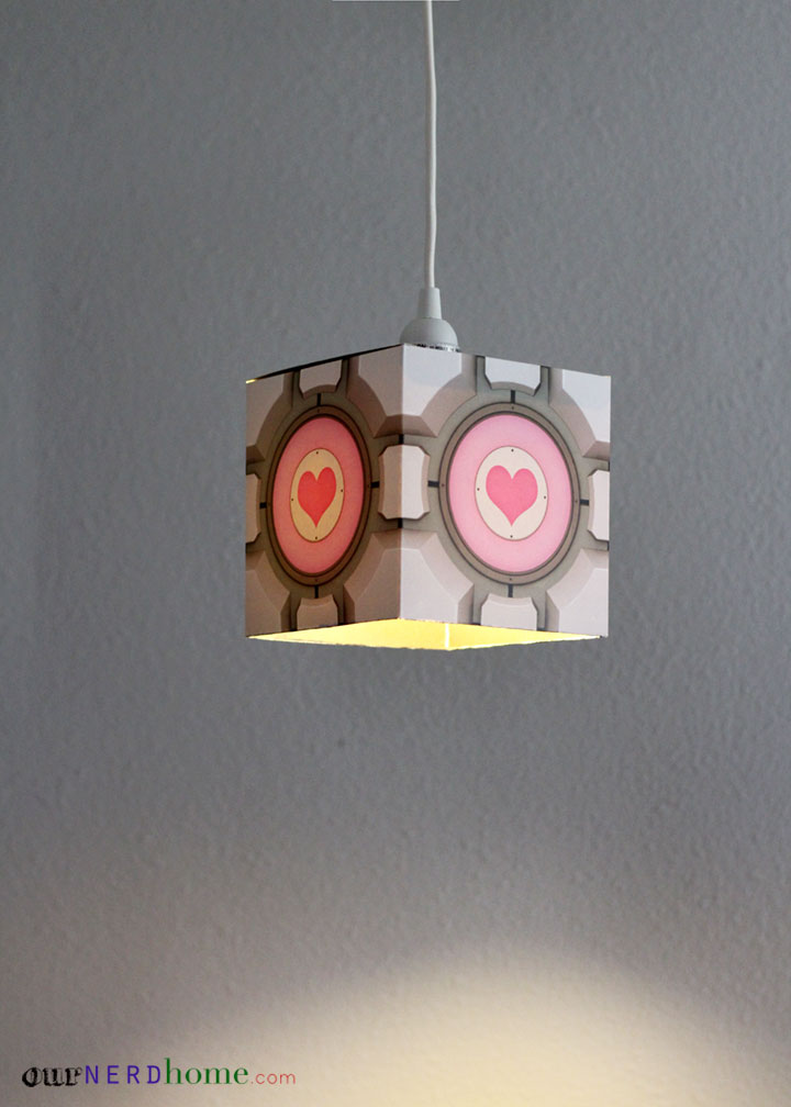 DIY Portal Companion Cube Pendant Lamp - Geek Crafts