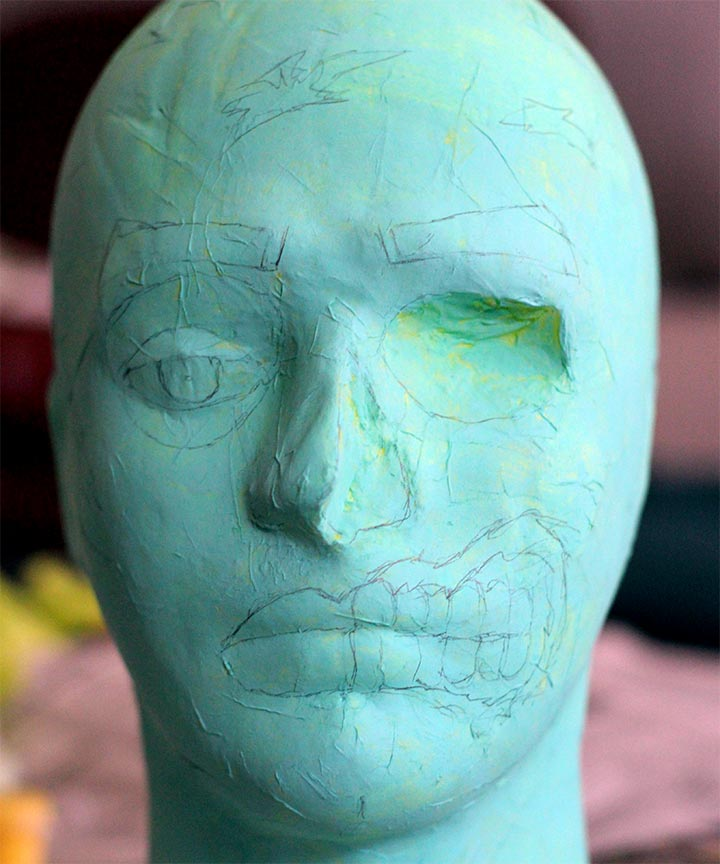 DIY Zombie head for Walking Dead party