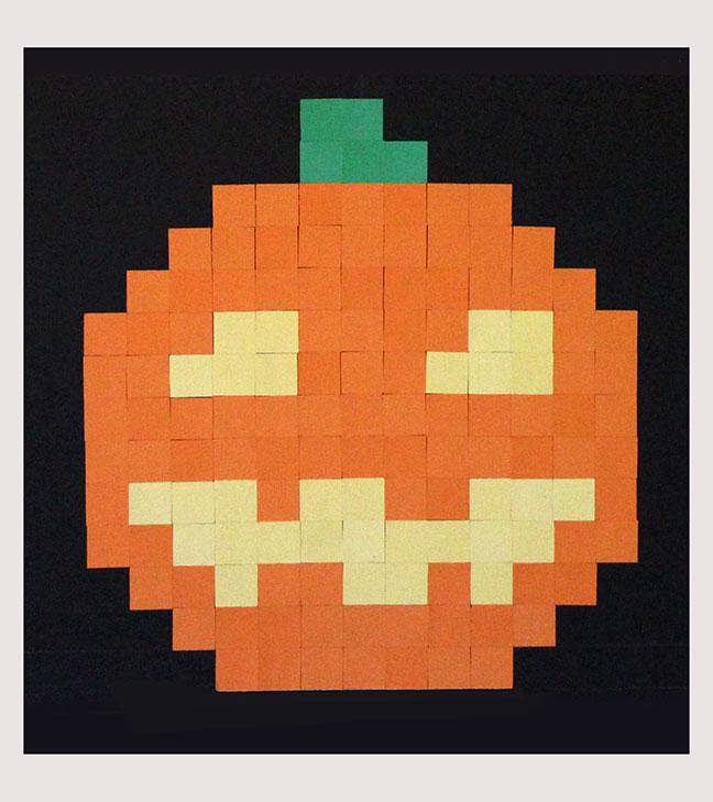 Geek halloween decor diy 8 bit pumpkin our nerd home for 8 bit decoration