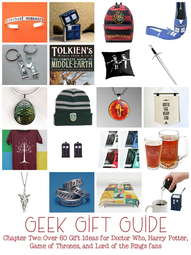 Geek Gift Ideas: Doctor Who, Harry Potter, Lord of the Rings, Game of Thrones gifts