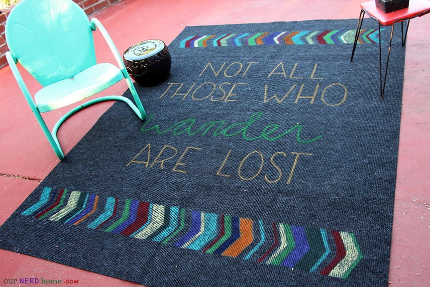 DIY Geeky Rug - Not All Those Who Wander Are Lost