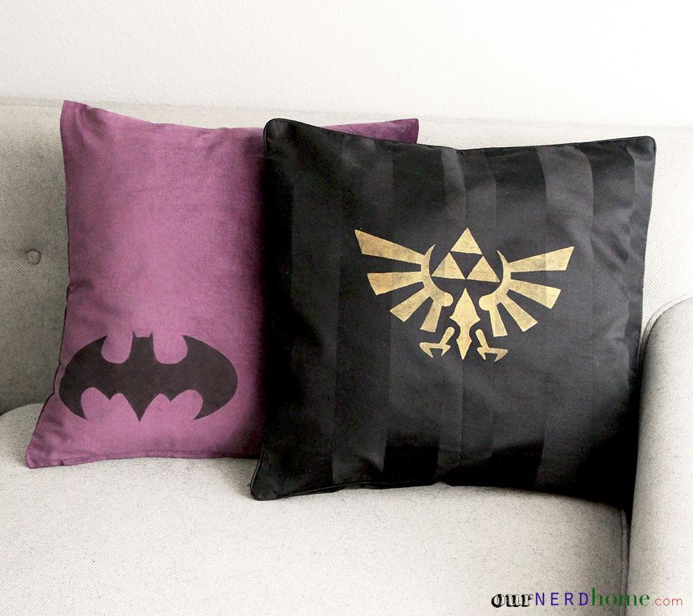 diy geek home decor: geek pillows! - our nerd home Diy Pillow Decor